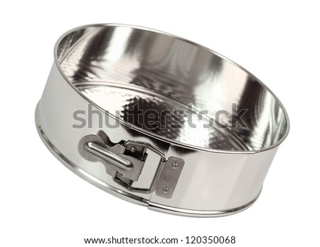 Springform Cake Tin with Textured Bottom. Isolated with clipping path.
