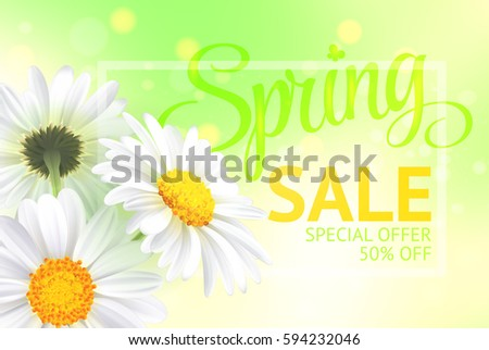 Springr sale concept. Summer background with chamomile and fresh green background. Template for banners, web, flyer, voucher.  illustration.