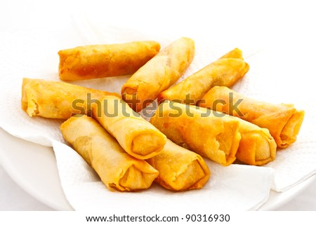 springrolls on white paper