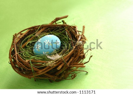 Springtime Egg in Nest: Great concept shot for home decor, redecorating, Easter, spring, rejuvenation, birth, growth, etc. Space for copy.