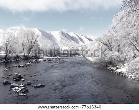 Springtime snow on a river in the Colorado Rockies