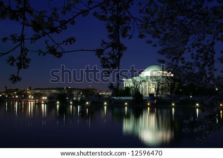 Springtime Thomas Jefferson Memorial, Washington DC, At Night Horizontal