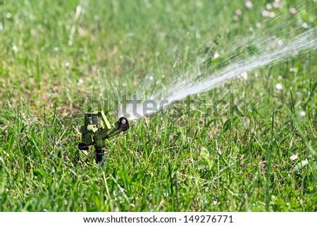 Sprinkler head spraying water on grass #149276771
