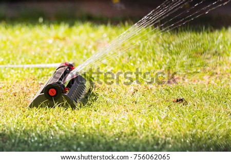 Sprinkler head spraying water on green lawn #756062065