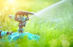 Sprinkler head watering green grass lawn. Gardening concept. Smart garden activated with full automatic sprinkler irrigation system working in a green park