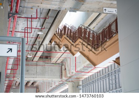 Sprinkler System electrical system. Lighting system. Perfect installation. and staircase has beautiful patterns. #1473760103