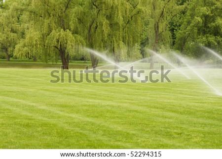 Sprinkler system is watering the lawn.