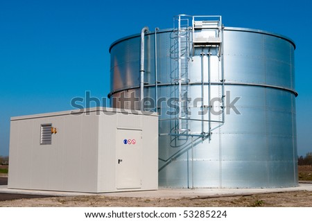 sprinkler water tank with pump building