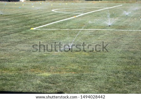 Sprinklers Automatic lawn grass irrigation system in stadium. Football, soccer field in small provincial town. Underground sprinklers spray water jets. Automation for watering and lawn care, gardening #1494028442