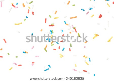 sprinkles on white background
