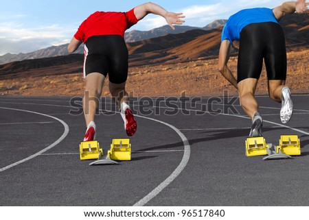 Sprint competition of two sprinter in the mountains