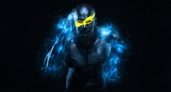 Sprinter and runner man. Running concept. Fitness and sport motivation. Strong and fit athletic, guy in body paint like a super hero in flashes. Sprinter or runner, running on black background.