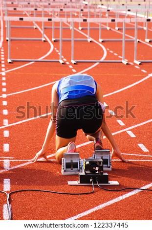 Sprinter is in start position.