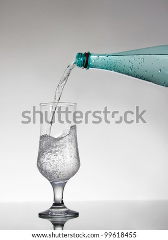 Sprite poured into glass - stock photo