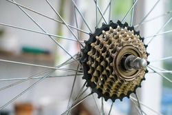 Sprocket for shifting gear on bicycle rear wheel. Bicycle repair.