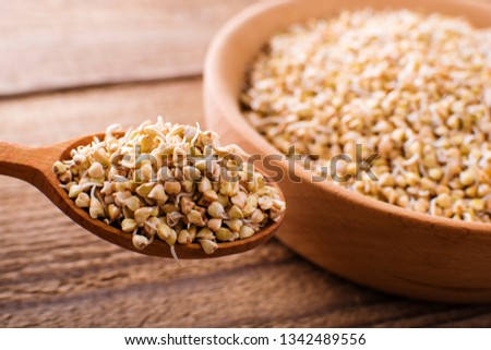sprouts green buckwheat on wooden table. Raw healthy food background #1342489556