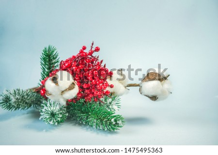 spruce branch, cotton branch, red, berries, Christmas decor,  side view