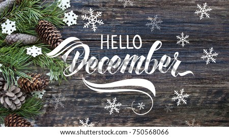 Spruce branches, cones and snowflakes on old wooden rustic background. Nature december background with hand lettering