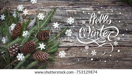 Spruce Branches Cones And Snowflakes On Old Wooden Rustic Background Nature December With