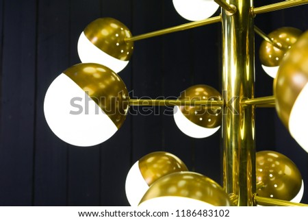 Sputnik chandelier with white globes