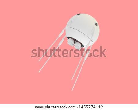 Sputnik variation 3d rendered on pink isolated