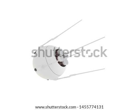 Sputnik variation 3d rendered on white isolated