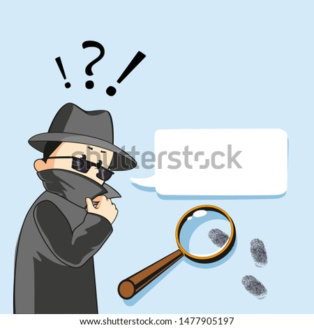 Spy detective. Special investigator illustration