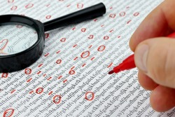 Spy reading word data encrypt with magnifying glass. Cipher encryption code or data