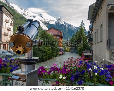 Spyglass pointing on mountains in Chamonix, France