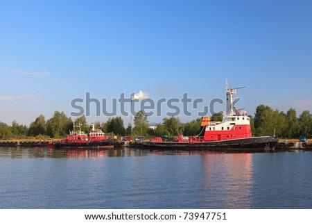 Squad fireboat in port Gdansk, Poland.