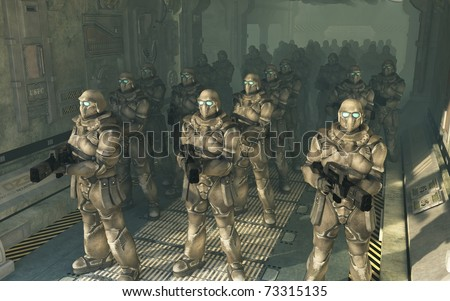 Squad of space marines waiting to disembark from a troop carrier dropship, 3d digitally rendered illustration - stock photo