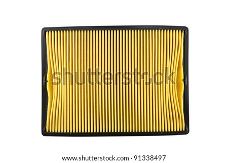 Square Air filter, auto spare part isolated on white background