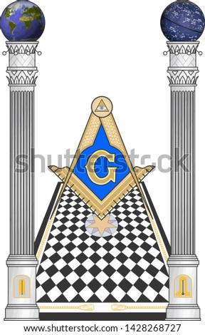 square and compass masonic occultism columns sacred society  knowledge illustration