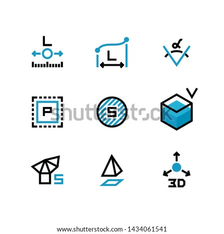 Square area, size, surface areas, 3d dimension, angle and perimeter measuring icons isolate. Illustration of symbol acreage, , measurement icon