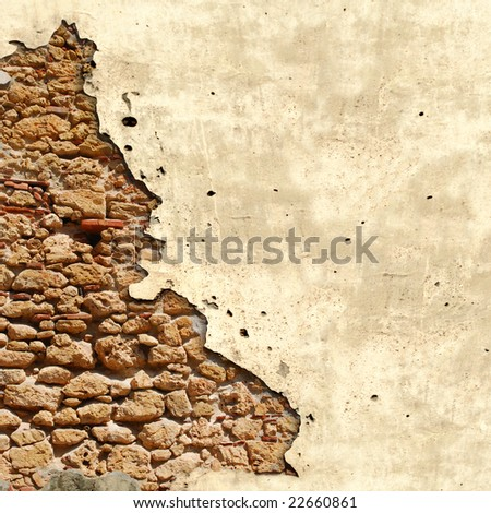 Square background with damaged vintage grunge wall in Cuba