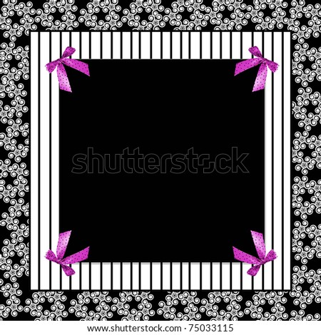 Square background with fucshia polka-dot bows, stripes and floral design combined (Graphic/illustration)