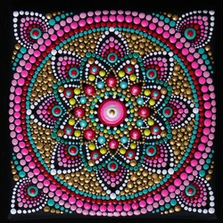 Square beautiful mandala hand painted