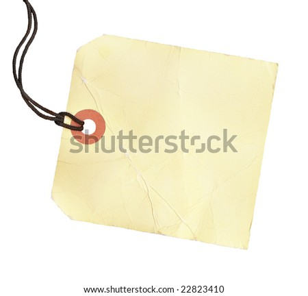 Square blank tag with a black cord.