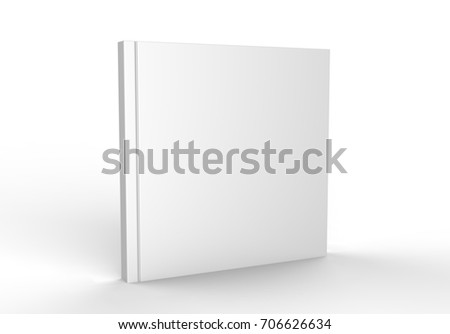 Square blank white catalog, magazines,book mock up on wood background. 3d render illustration.
