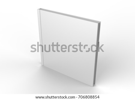 Square blank white catalog, magazines,book mock up on wood background. 3d render illustration.  #706808854