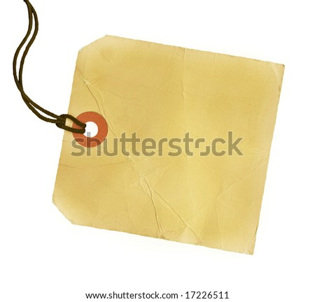 Square blank yellow tag with a black cord.