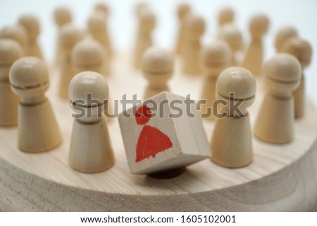 Square block can not peg the round hole on memory chess Stock photo ©