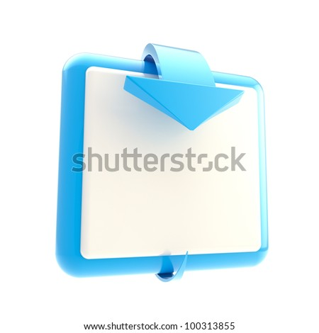 Square blue button with glossy arrow isolated on white