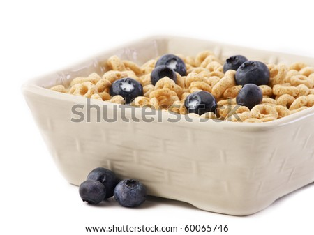 Square bowl with oat ceral and blueberrys