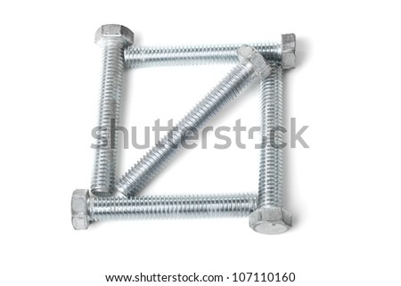 Square  box of bolts with diagonal isolated on white background