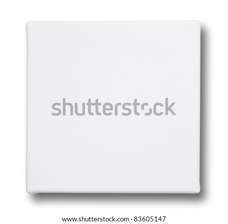 Square canvas on a stretcher. isolated on white - stock photo