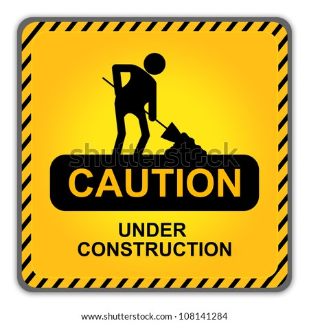 Square Caution Under Construction Sign With Workman Icon  Isolate on White Background