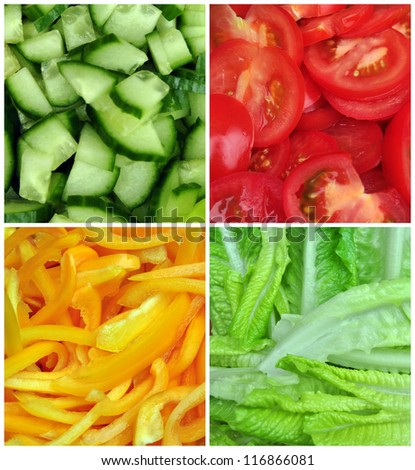 square collage of four pictures of different salad vegetables
