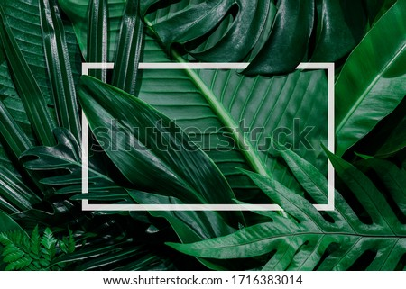 Square color cutout with green leaves, placing a love concept