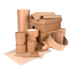 Square composition with paper tubes, cardboard boxes, rolls of paper, paper edge protectors, sheets of paper and cardboard isolated for your presentation or website. Sustainable packaging concept